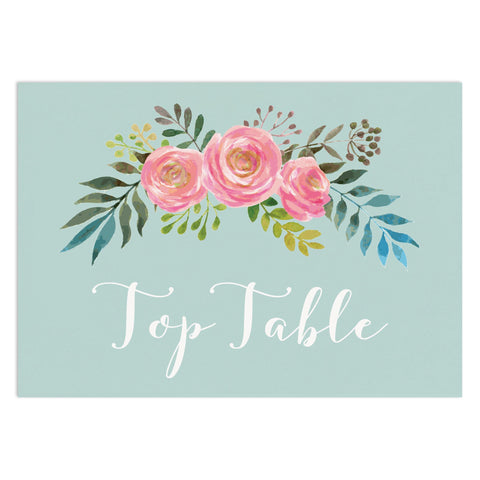 Floral Wedding Table Numbers