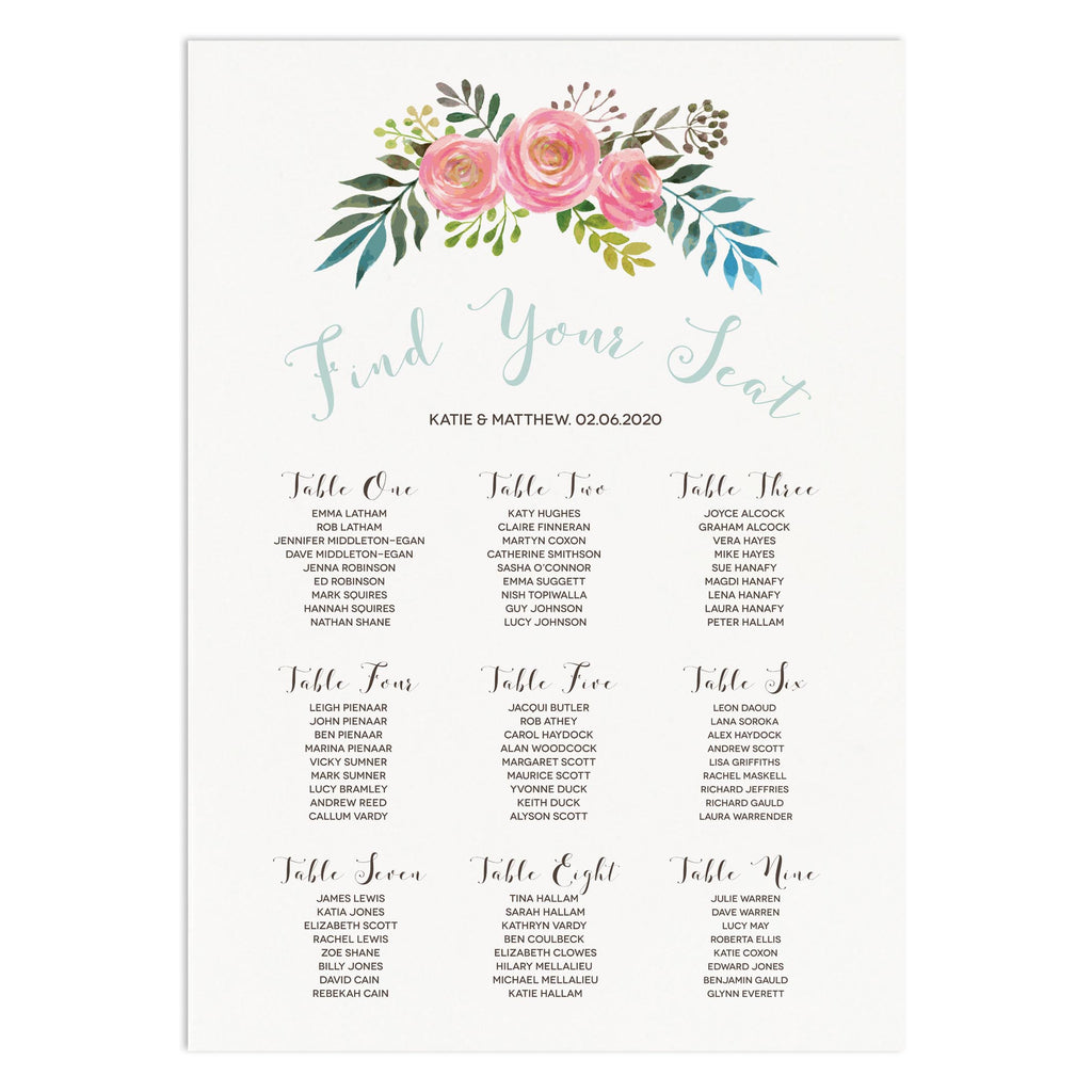 Floral Wedding Table Paln