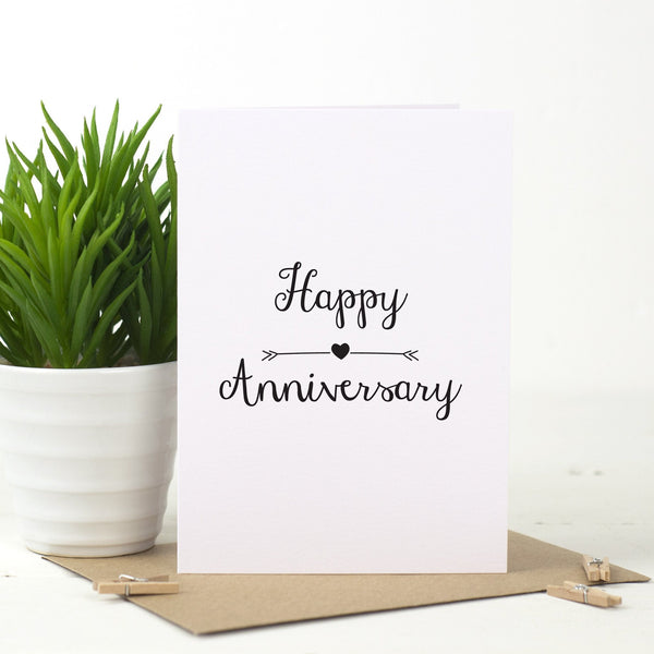 Anniversary Love Arrow Card - Russet and Gray