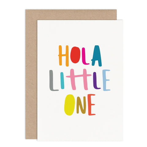 Hola Little One Card - Russet and Gray
