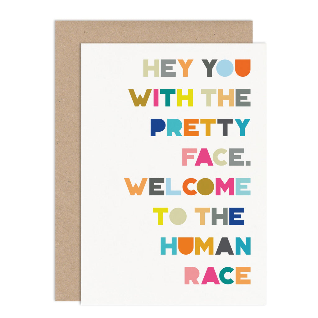 Hey You New Baby Card - Russet and Gray