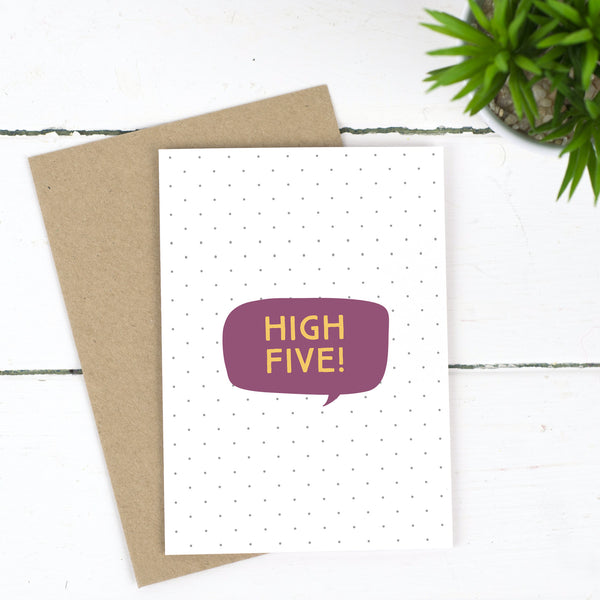 High Five Congratulations Card - Russet and Gray