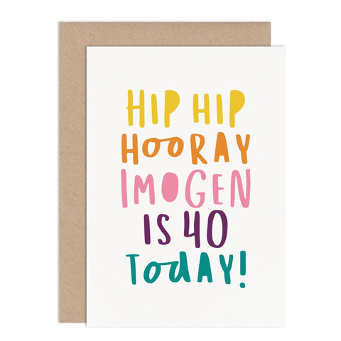 Personalised Hip Hip Hooray Card - Russet and Gray