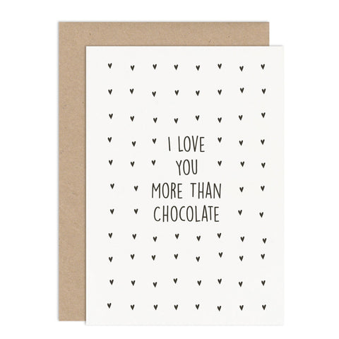 Personalised 'I Love You More Than' Card - Russet and Gray