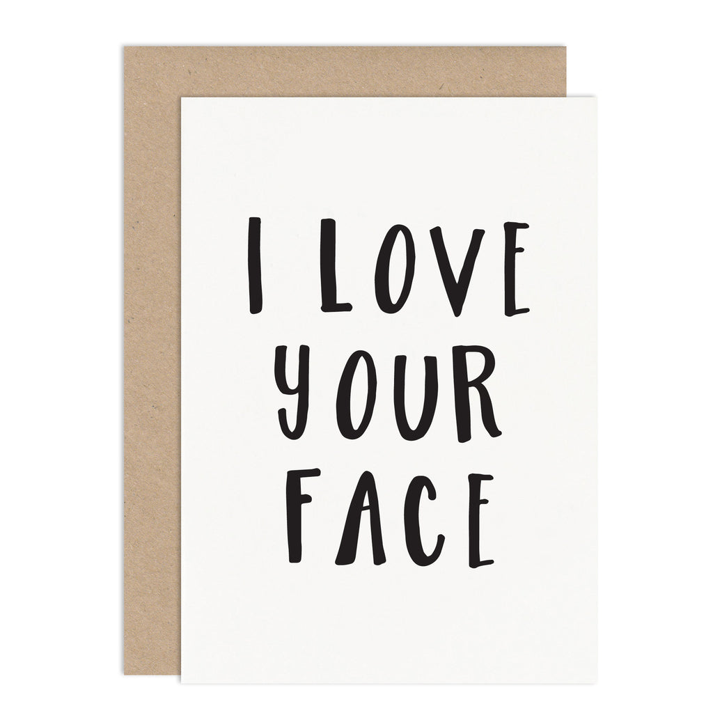 I Love Your Face Valentines Card - Russet and Gray