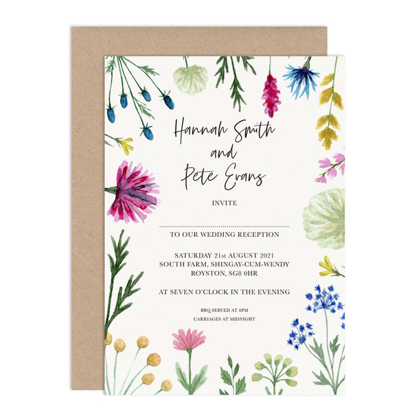 Wildflowers Wedding Reception Invitation