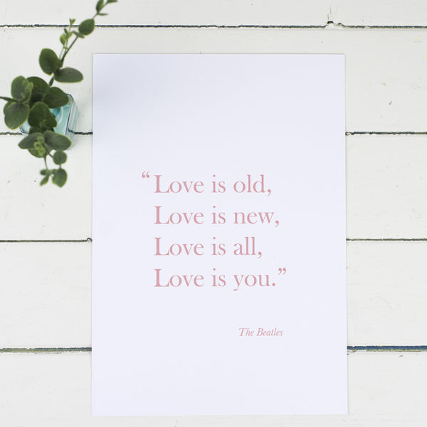 'Love Is Old, Love Is New' Print - Russet and Gray