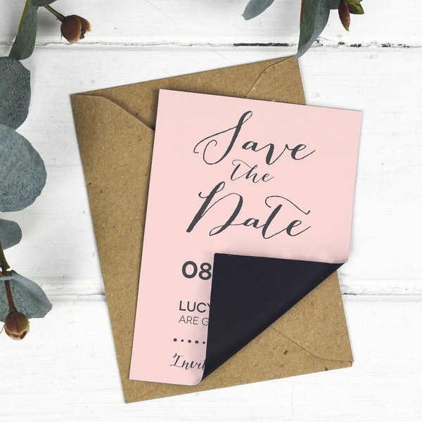 Modern Calligraphy Wedding Save The Date Magnet - Russet and Gray