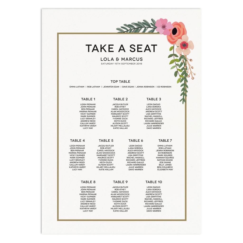 Modern Botanical Wedding Table Plan Seating Chart