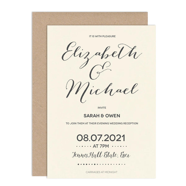 Modern Calligraphy Wedding Invitations - Russet and Gray