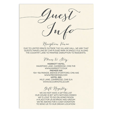 Modern Calligraphy Information Card - Russet and Gray