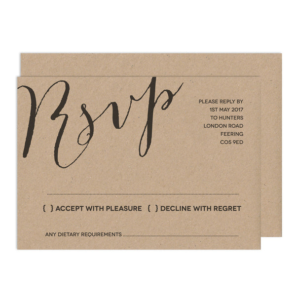 Modern Calligraphy RSVP Card - Russet and Gray