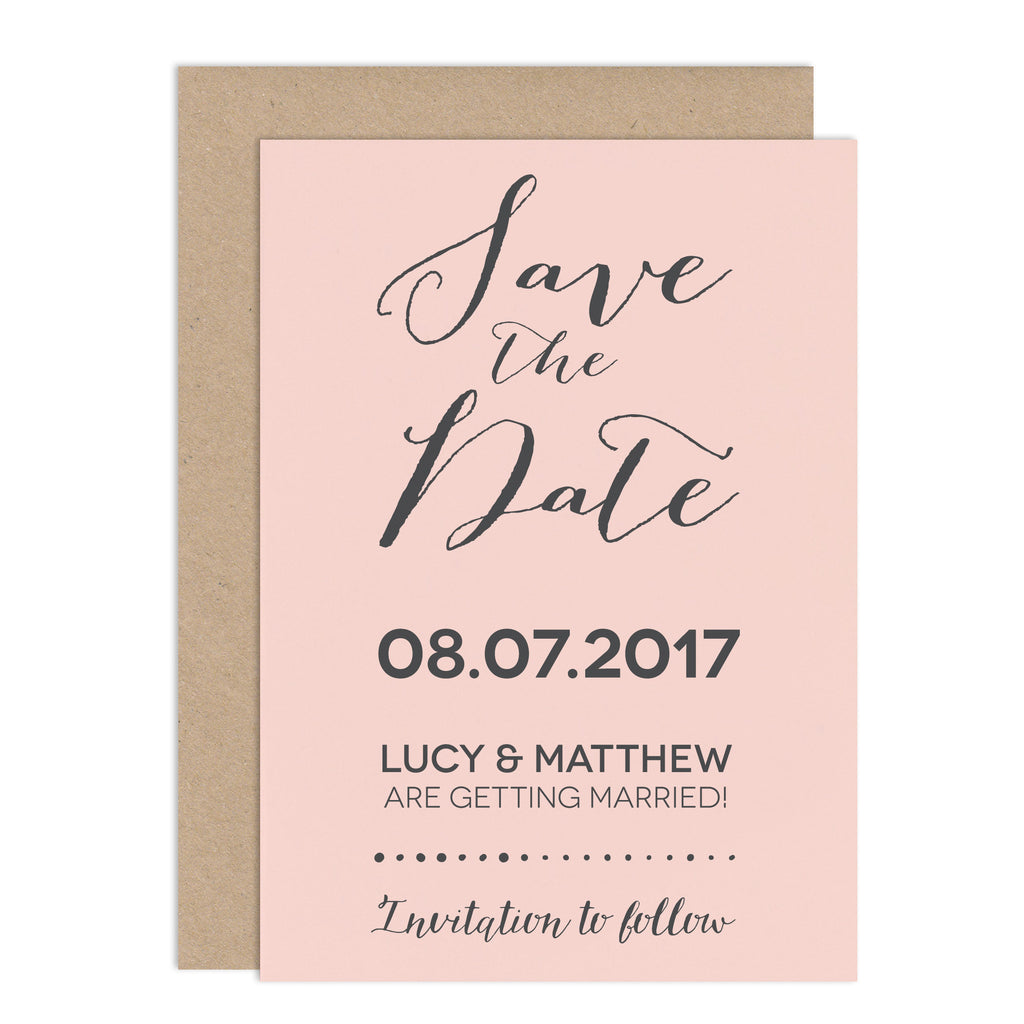Modern Calligraphy Wedding Save The Date Card - Russet and Gray