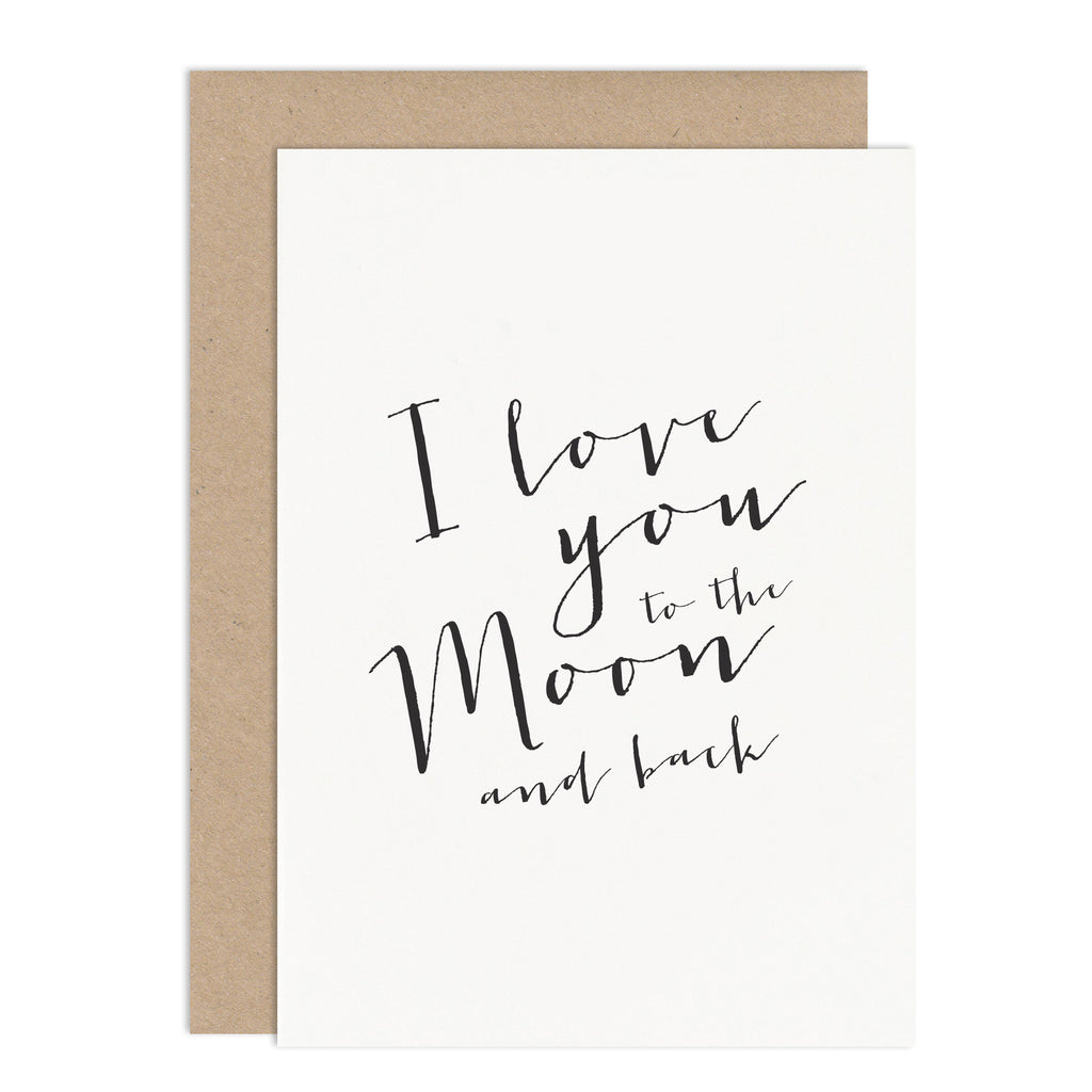 I Love You To The Moon & Back Card - Russet and Gray