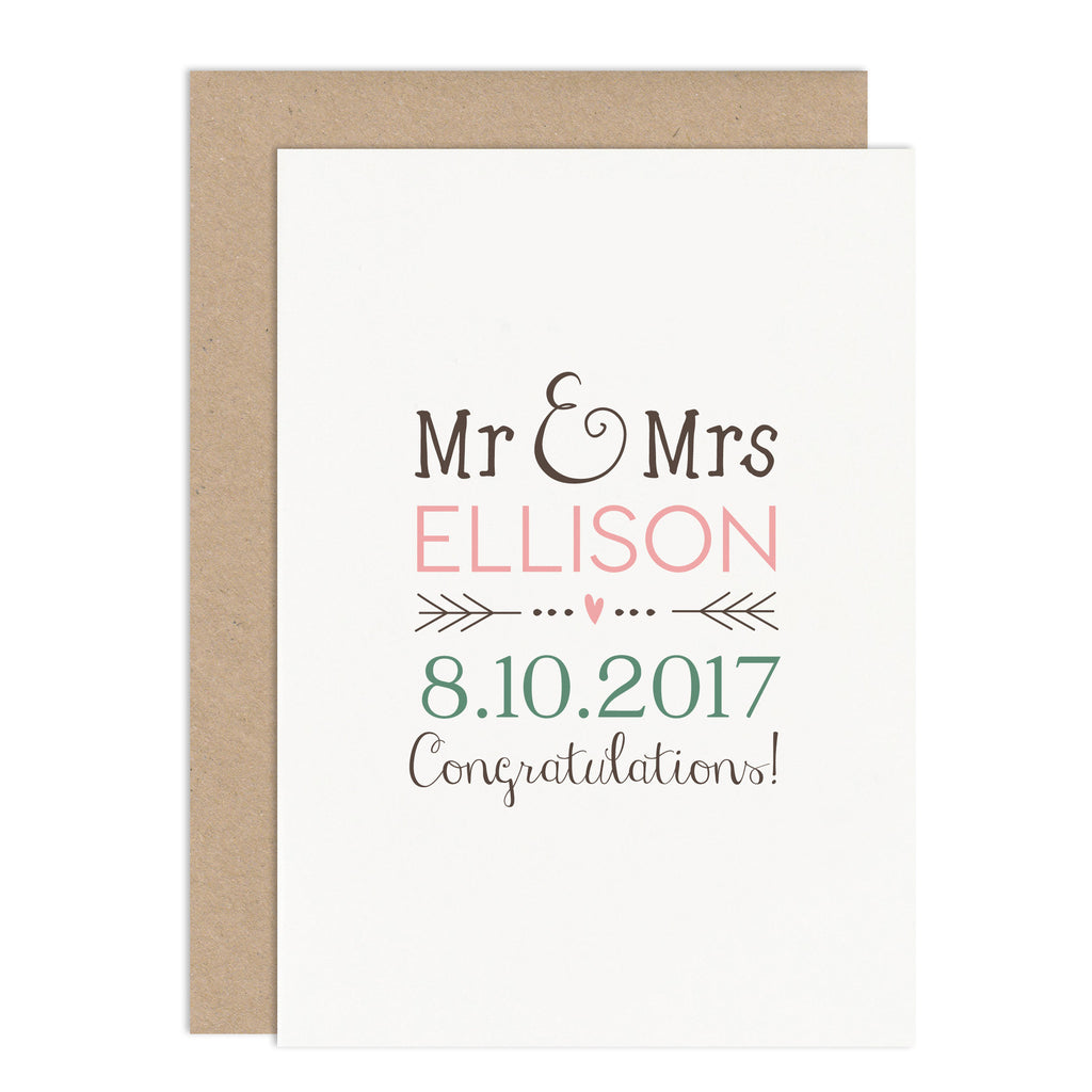 Personalised Mr & Mrs Wedding Card - Russet and Gray