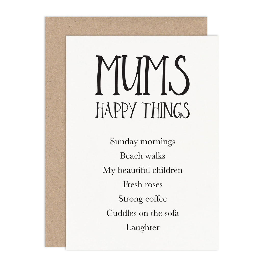 Mum's Happy Things Card - Russet and Gray