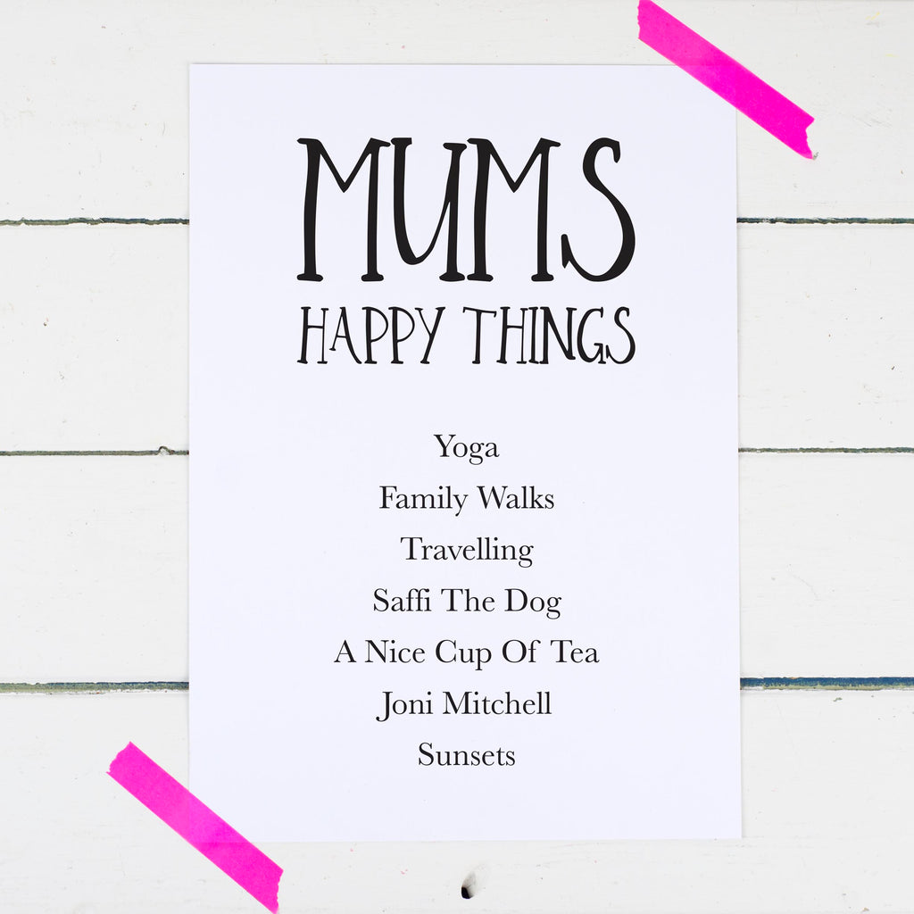 Personalised Mum's Happy Things Print Things We Love About Mum