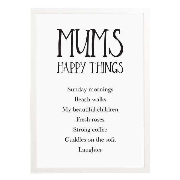 Personalised Mum's Happy Things Print - Russet and Gray