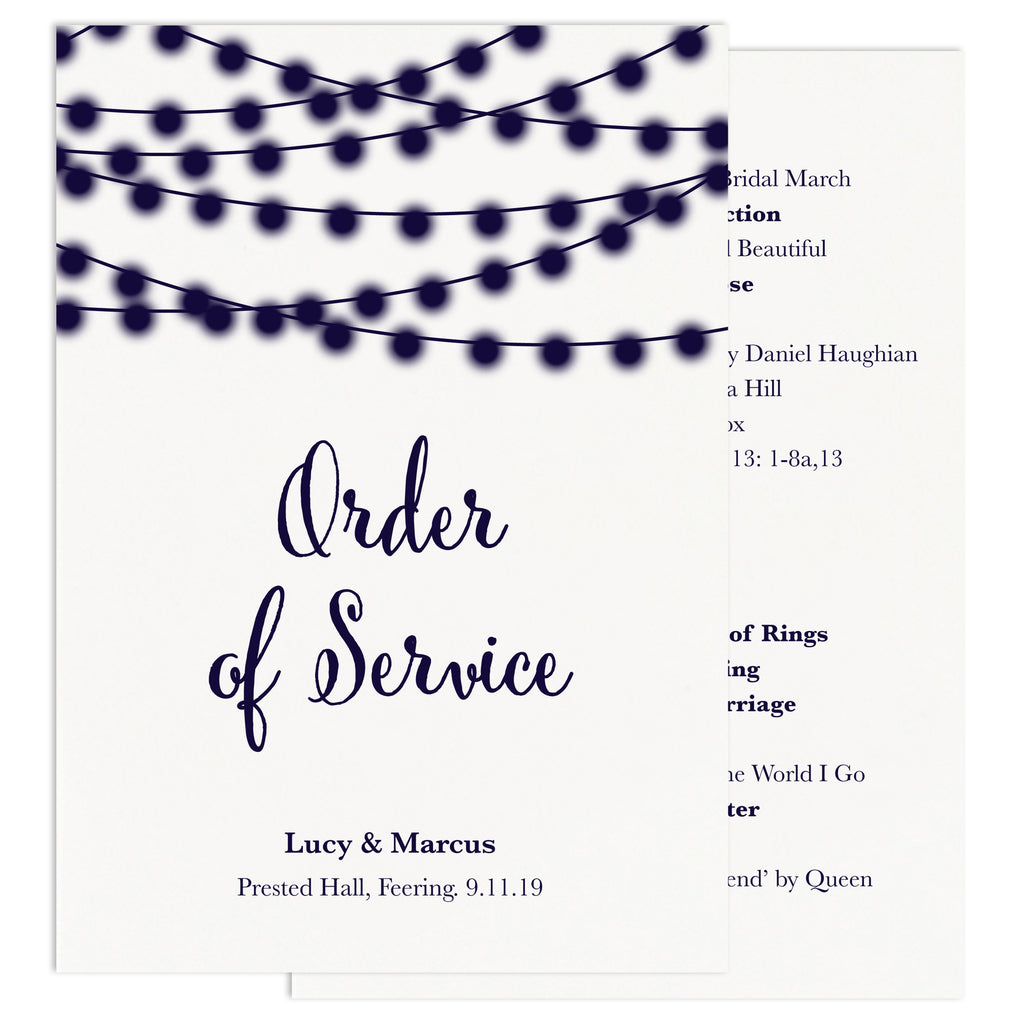 Nightgarden Wedding Order Of Service Card