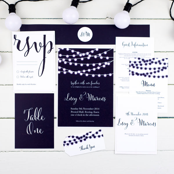 Nightgarden string lights wedding stationery