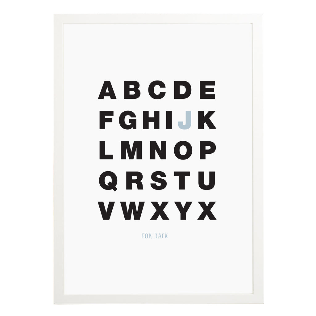 Personalised Alphabet Print - Russet and Gray