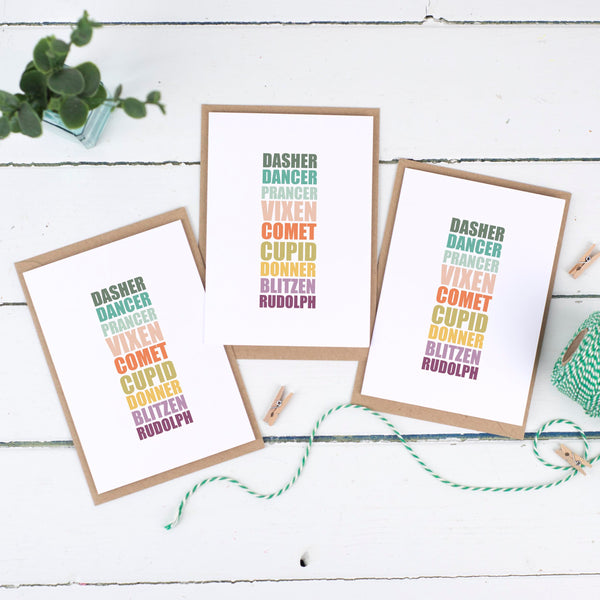 Reindeer Names Christmas Card Pack