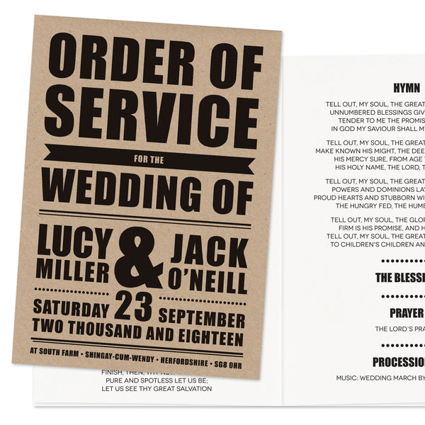 Retro Poster Wedding Order Of Service Booklet