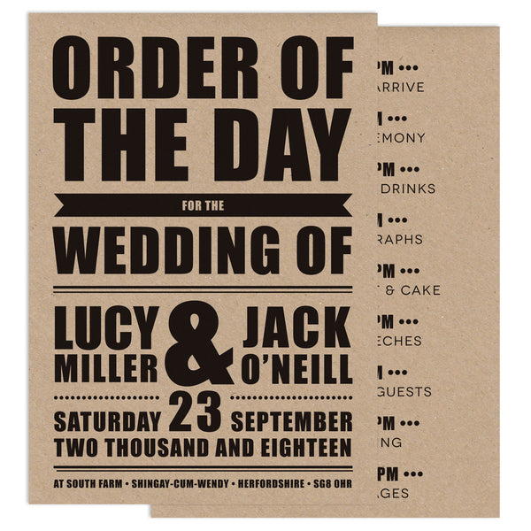 Retro Poster Wedding Order Of Service Card