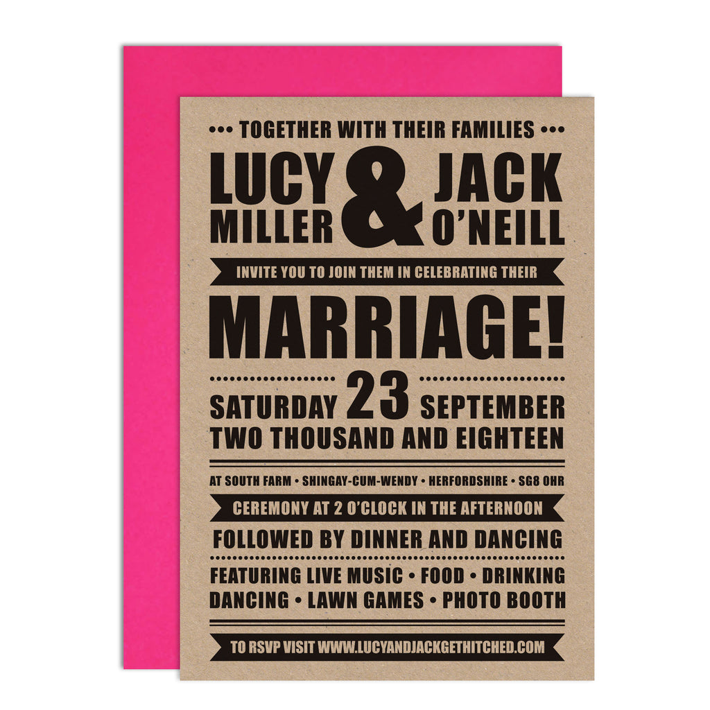 Festival Wedding Retro Poster Wedding Invitation
