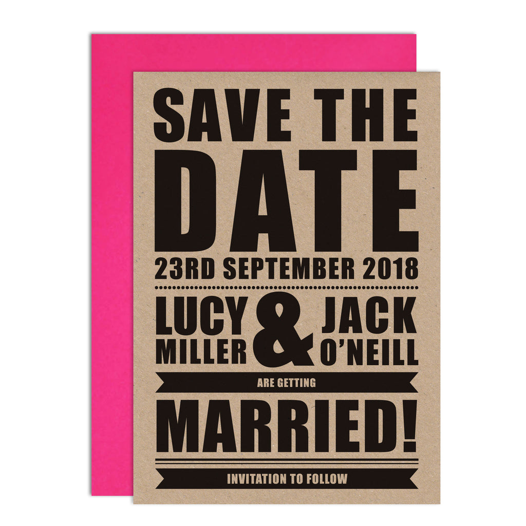 Festival Wedding Retro Poster Wedding Save The Date Card