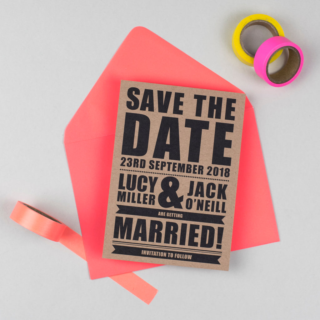 Retro Poster Wedding Save The Date Card – Russet and Gray