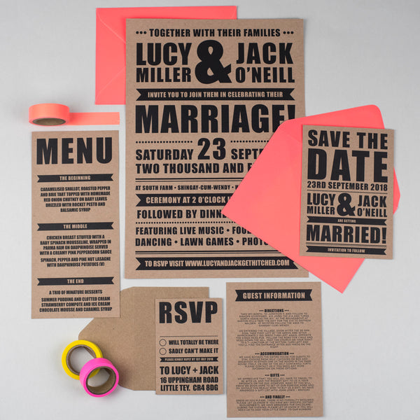 Retro Poster Wedding Stationery