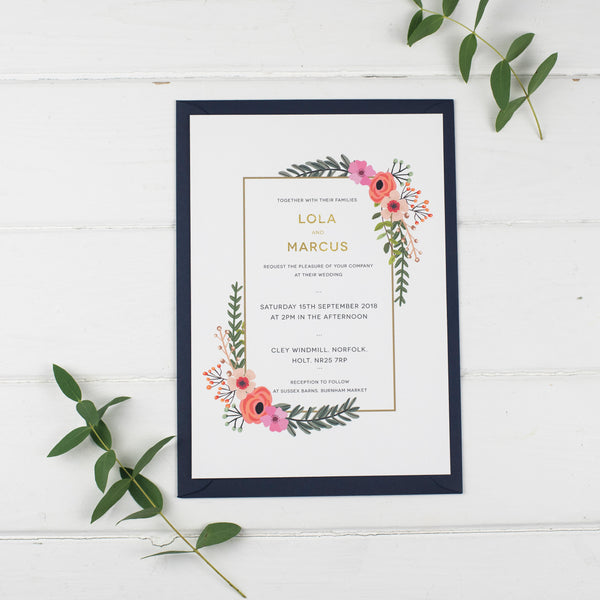 Personalised Modern Botanical Wedding Stationery