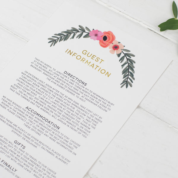 Modern Botanical Wedding Information Card