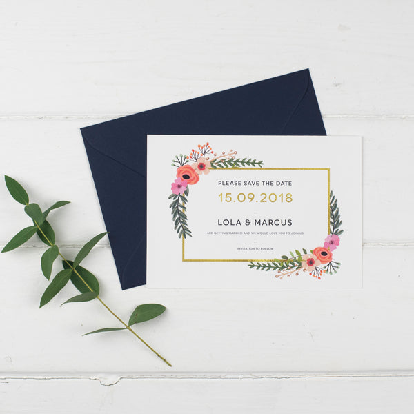 Modern botanical floral wedding save the date card