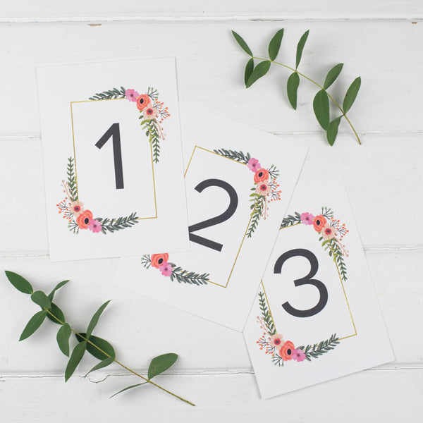 Modern Botanical Wedding Table Number Cards