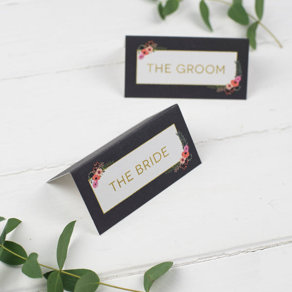 Personalised Modern Botanical Wedding Place Cards