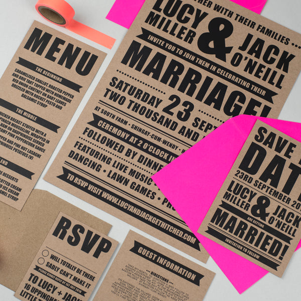 Festival Wedding Retro Poster Wedding Stationery