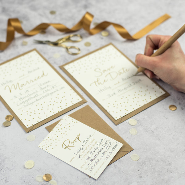 Gold Confetti DIY Wedding Stationery