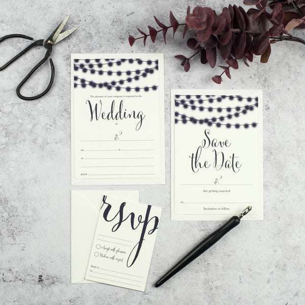 String Lights Nightgarden DIY Wedding Stationery