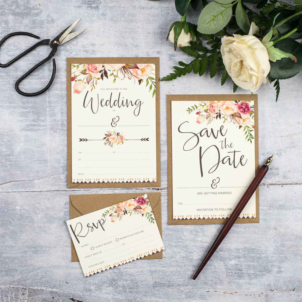Boho Floral Write Your Own Wedding Stationery – Russet and Gray