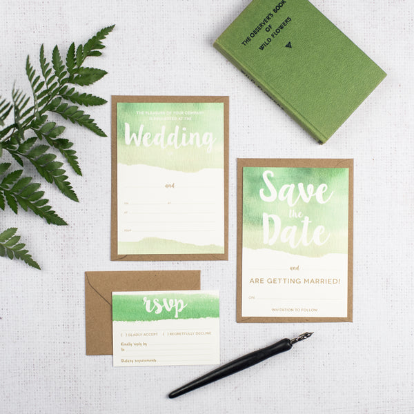 Green DIY Watercolour Wedding Stationery