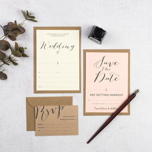 Modern Calligraphy DIY Wedding Stationery