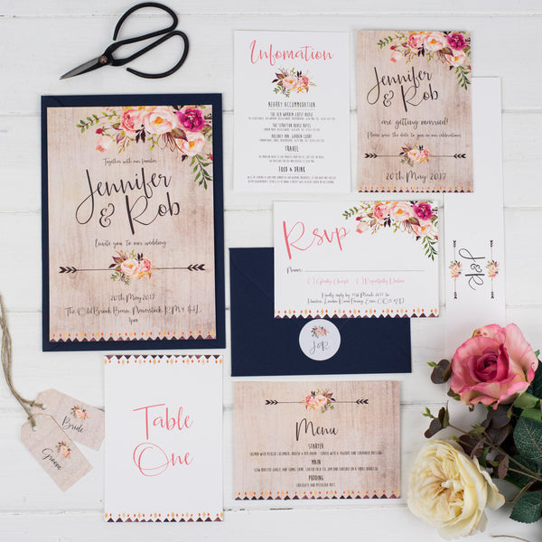 Boho Floral Wedding Stationery