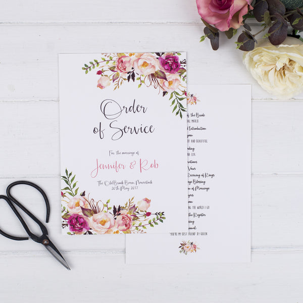 Boho Floral Order Of Service Cards - Russet and Gray