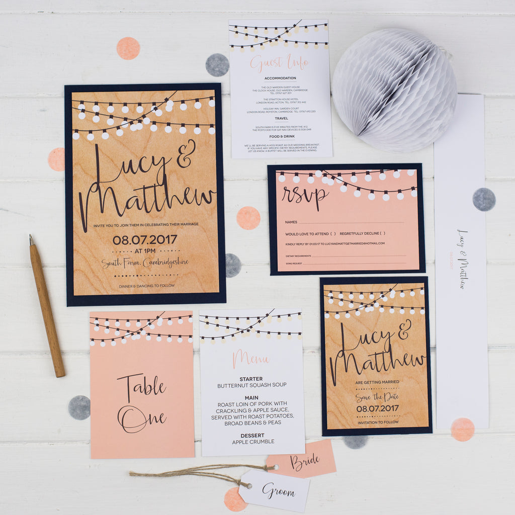 Personalised String Lights Wedding Stationery