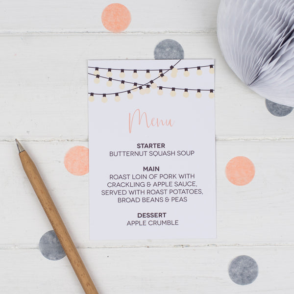 String Lights Wedding Menu