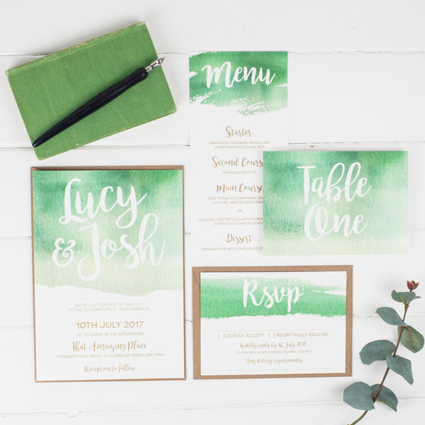 Green Watercolour Wedding Stationery