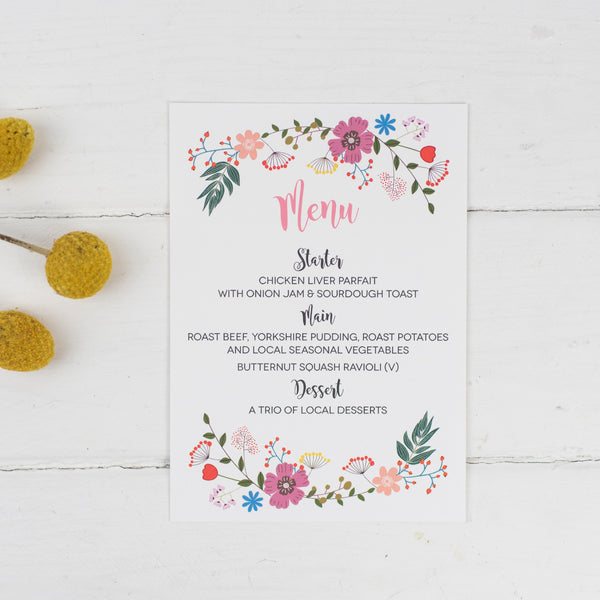 Floral Border Wedding Menu