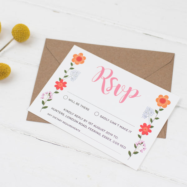 Floral Border Wedding RSVP Card